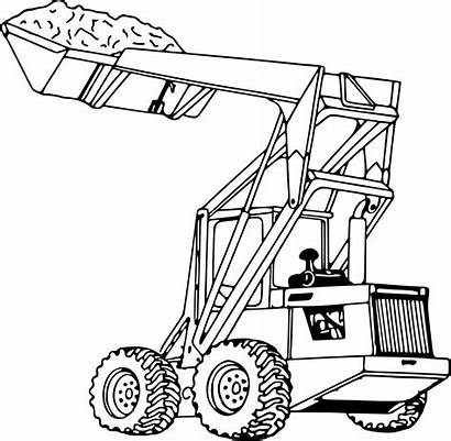 Loader Drawing Clipart Tractor Coloring End Excavator