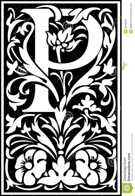Flowers Decorative Letter P Balck And White Stock Vector