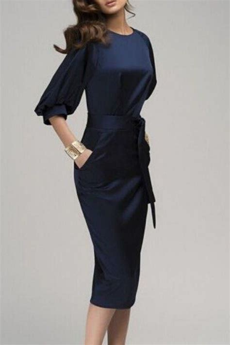 sleeve denim dress with belt navy blue belt sleeve fashion midi dress midi