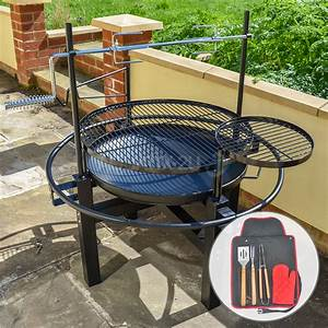 Kct, Outdoor, Round, Bbq, Grill, With, Rotisserie, And, Tool, Set