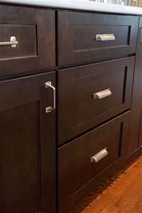 Brushed Nickel Hardware On Dark Shaker Cabinets