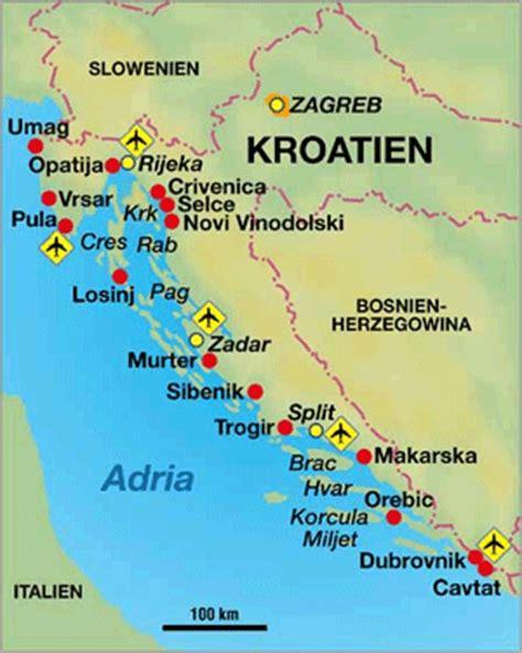 kroatien urlaubsorte sandstrand kroatien karte urlaub kleve landkarte