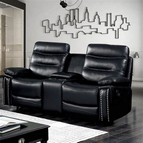 Reclining Loveseat With Center Console by Artemis Contemporary Black Faux Leather Reclining Loveseat
