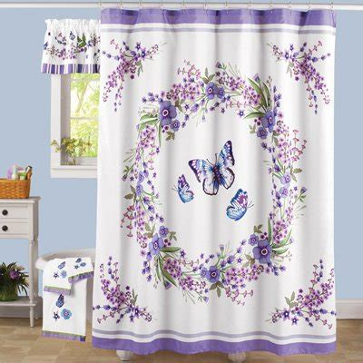 Purple Flower Shower Curtain by Lavender Floral Wreath Butterfly Fabric Shower Curtain