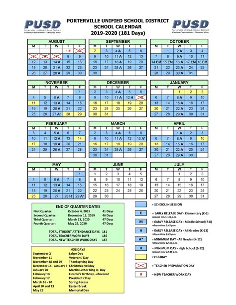yearly calendar calendars porterville unified school district