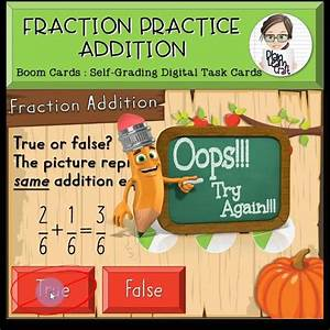 Math Boom Cards Fraction Addition 4th Grade  Video   Video