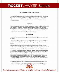 Subcontractor agreement form template with sample for Subcontractor agreements template
