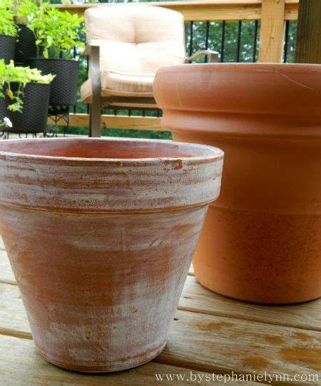distressed white washed terracotta pots spring