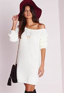 missguided off shoulder knitted jumper dress cream in With robe en laine femme