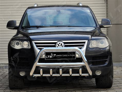 vw touareg chrome axle nudge  bar stainless steel bull