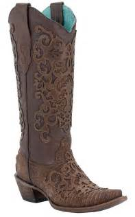 Brown Boots with Lace Overlay