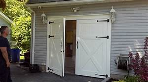 white barn style garage doors combine with gray wall paint With barn style garage doors for sale