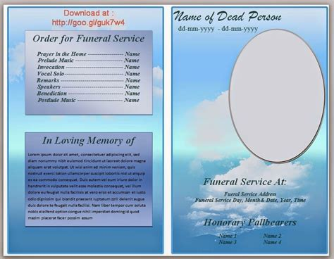 blue cloud funeral program template  microsoft word