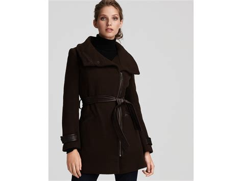Cole Haan Asymmetric Belted Coat With Leather Trim