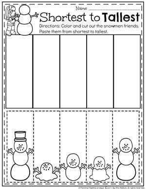 snowman activities for preschool worksheets winter and math
