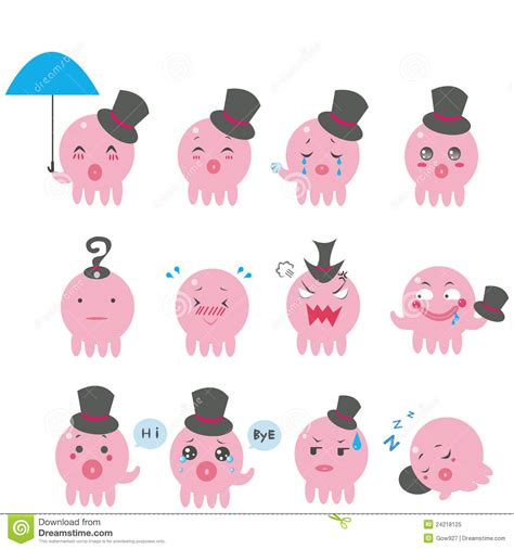 cute octopus emotional icons royalty free image 24218125