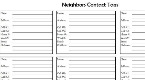 neighbors contact list  excel templates