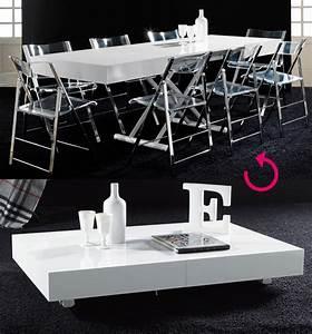 Table De Salon Transformable : table basse relevable blanc laqu design jacinta ~ Teatrodelosmanantiales.com Idées de Décoration