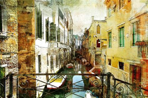 pictorial venetian streets artwork  painting style