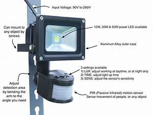 Motion sensor led security flood light oznium