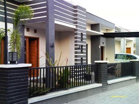 model desain pagar rumah minimalis batu alam besi