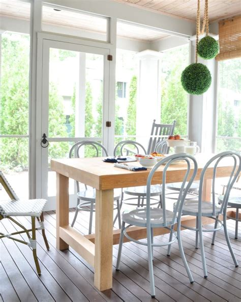 outdoor table ls for porches screened porch updates metal bentwood chairs and a diy
