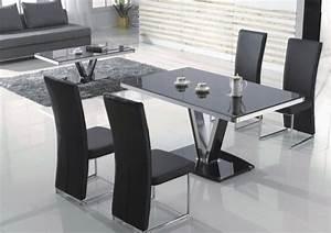 Salle a manger table rectangulaire tina ensemble for Meuble salle À manger avec chaise noir salon