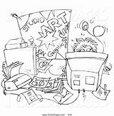 Desk Coloring Clipart Student Collection Pencil sketch template
