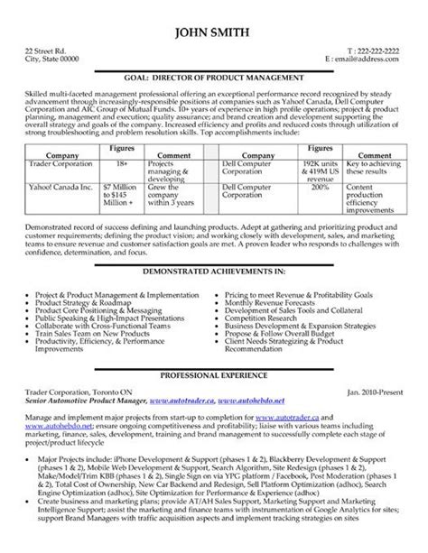 Program To Make Resume by A Resume Template For A Director Or Product Manager You