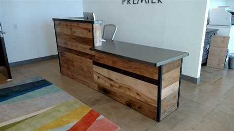 white salon styling chairs handmade reclaimed wood steel reception desk by re dwell