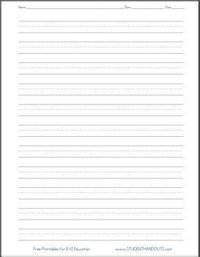 dashed  handwriting practice paper printable worksheet