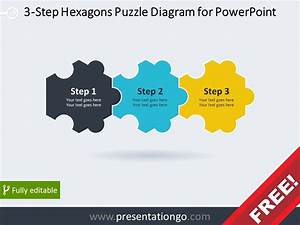 Free Diagram For Powerpoint With 3 Hexagonal Puzzle Pieces