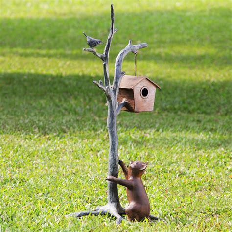 cat bird garden sculpture with bluetooth speakers
