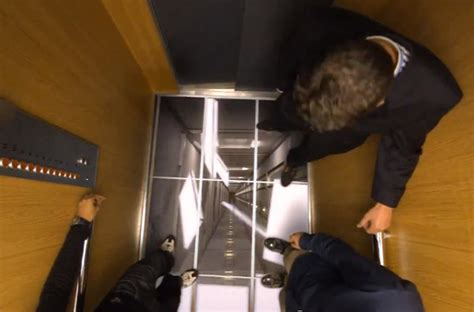 elevator prank floor falls lg uses tvs in elevators to scare the crap out of