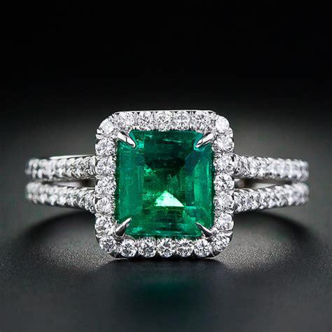 emerald diamond ring in 14k white gold from gemone diamonds online