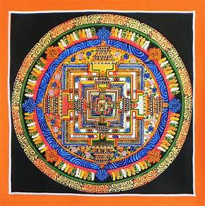 Kalachakra Mandala Thangka Painting On Canvas 9 X 9 Inches