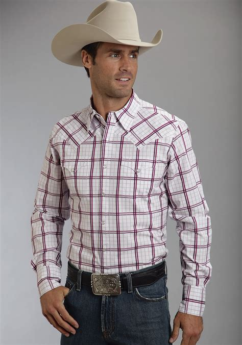 stetson mens box wine plaid long sleeve pearl snap cowboy