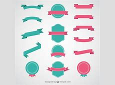 Ribbons and badges Vector Free Download