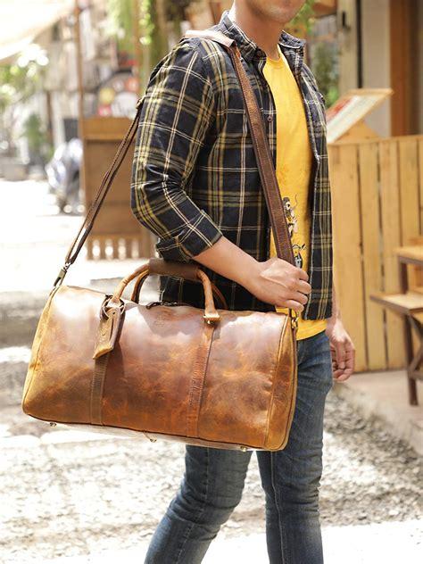 Rustic Town Leather Duffle Weekend Luggage Travel Bag, Men ...