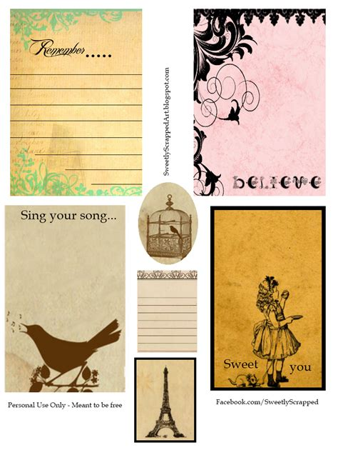 sweetly scrapped printable journaling cards