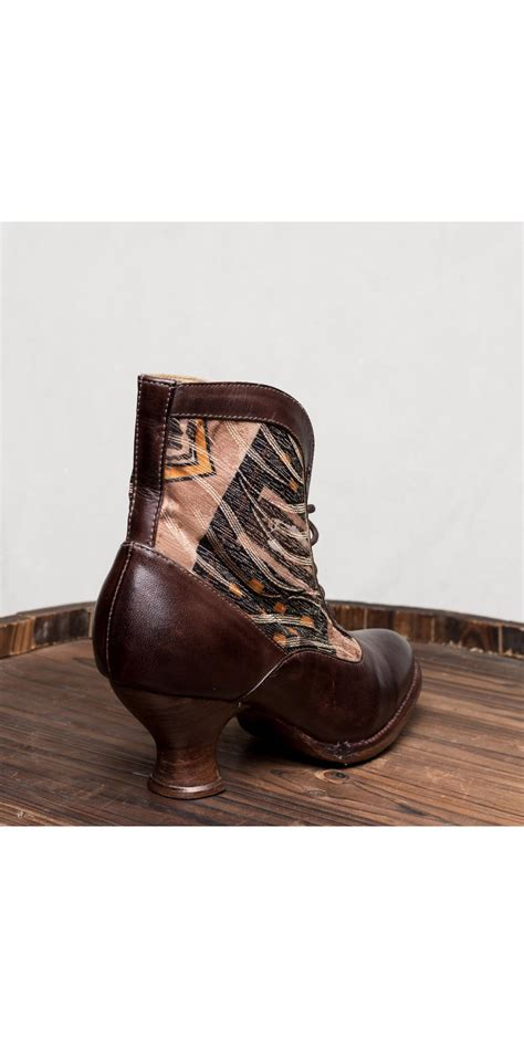 victorian style boots  brown rustic