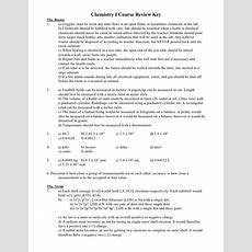 Chemistry I Course Review Key