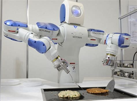 motoman industrial robot cooks okonomiyaki pink