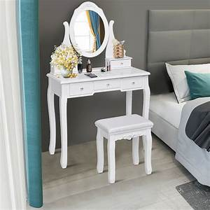 Gymax, Bedroom, Wooden, Mirrored, Makeup, Vanity, Set, Stool, Table, Set, White, 5, Drawers