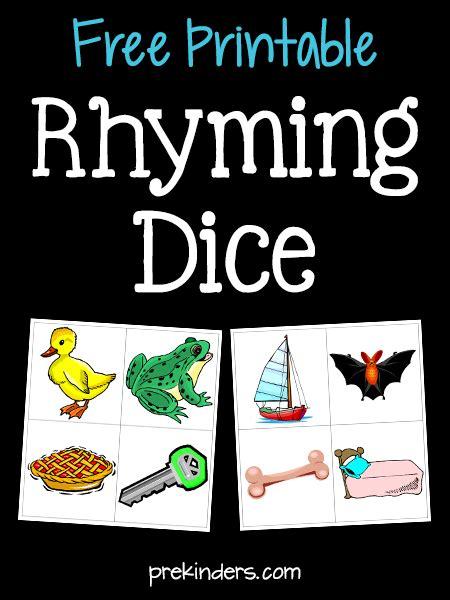 phonological awareness activities for pre k and preschool 980 | rhyming dice printable