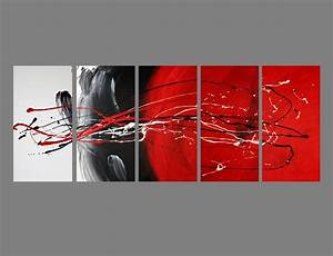 Abstract canvas painting red black white modern wall