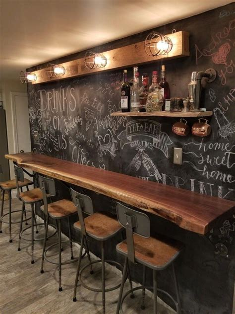 Bar Pictures Ideas by Black Walnut Bar I Build For My House With Chalkboard Wall