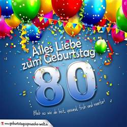 80 geburtstag sprüche geburtstagskarte mit bunten ballons konfetti und luftschlangen zum 80 geburtstag