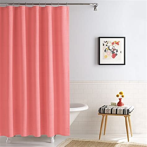 coral colored shower curtain buy linear coral real simple 174 70 inch x 72 inch shower