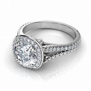 Split shank cushion design halo diamond engagement ring for Split shank engagement ring with wedding band